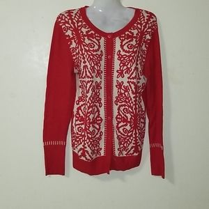 Merona red floral button down sweater medium